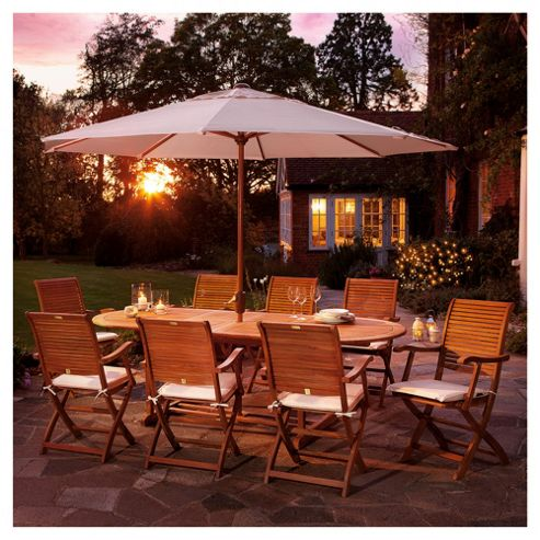 Dorney Teak 8-seat Extending Garden Furniture Set with Cushions & Parasol