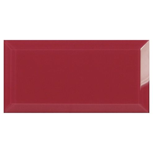 Glass Metro Tile (20X10Cm) Bright Pink