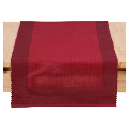 Tesco ribbed table runner, burgandy & red