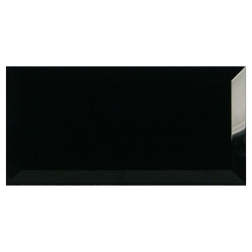 Glass Metro Tile (20X10Cm) Black