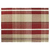Tartan Flat Weave Rug 120 x 170cm, Red