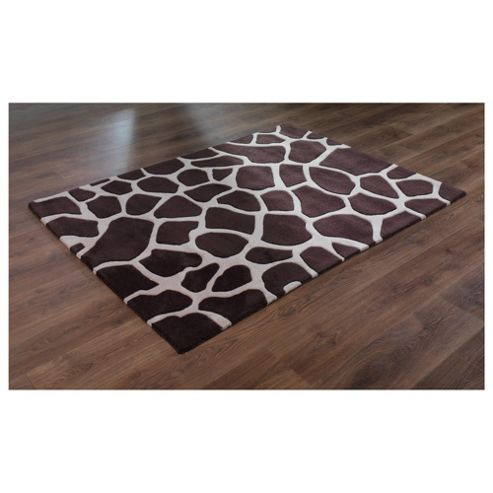 Tesco Rugs Giraffe Print Rug Cream/Brown 150X240Cm
