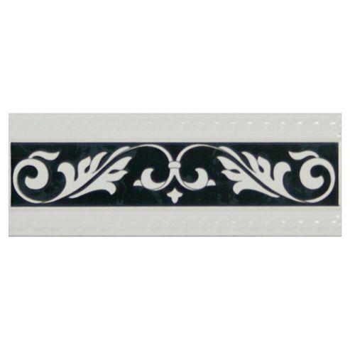 Elegant Scroll Border Glass Tile
