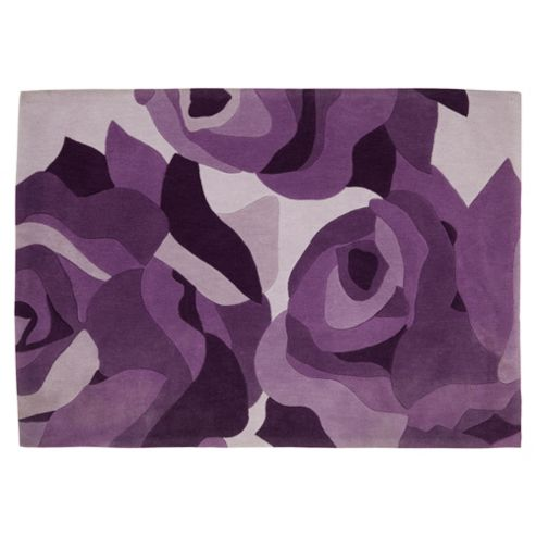 Tesco Rugs Tonal rose rug plum 120x170cm