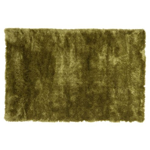 Tesco Rugs Luxurious Shaggy Rug Green 70X140Cm