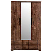 Brandon Triple Wardrobe With Mirror, Walnut-Effect