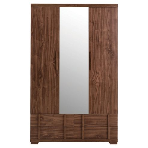 Brandon Triple Wardrobe with Mirror - Walnut Effect
