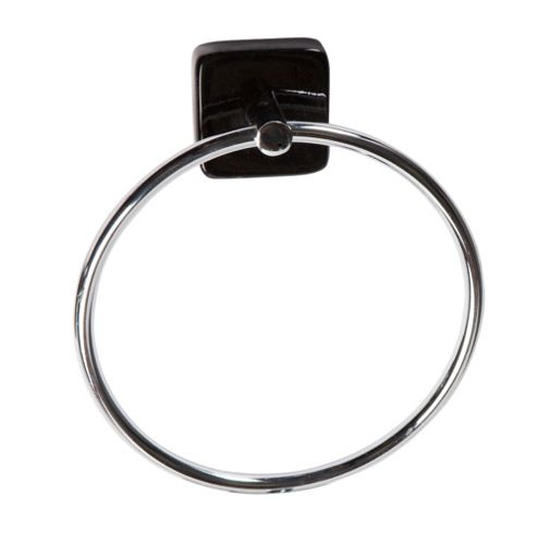 Stockholm Black Gloss Towel Ring and Toilet Roll Holder Set