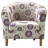Tub Fabric Accent Chair Aubergine Exeter Floral