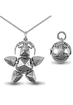 Jewelco London Rhodium Coated Sterling Silver Eastern Star Masonic Ball Pendant - 18 inch Chain