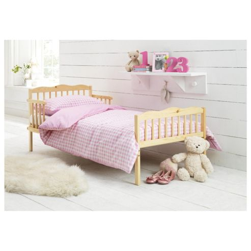 Saplings Junior Bed in a Box, Pink Gingham (Includes bed, mattress, quilt, pillow, pillow case & duvet cover)