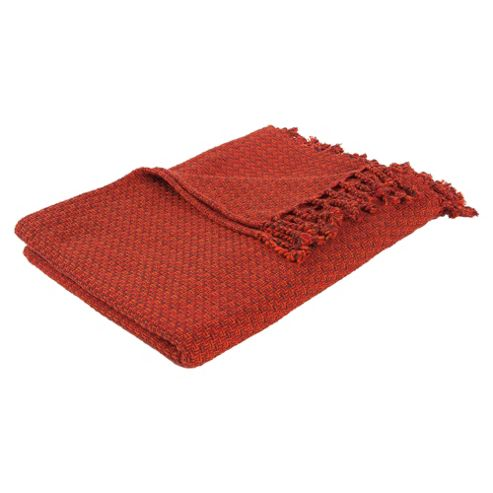 F&F Home Spiced orange multiweave zig zag throw