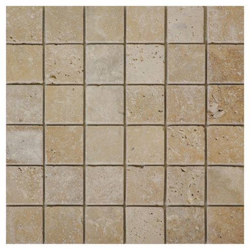 Stone Tumbled Travertine Mosaic (30.5x30.5cm) Beige