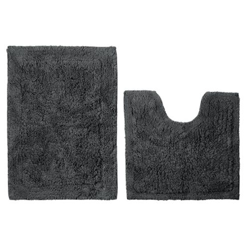 Tesco Pedestal And Bath Mat Set Grey