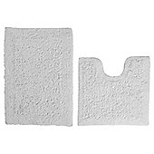 Tesco Pedestal And Bath Mat Set White