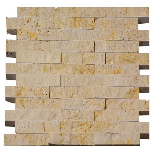 Travertine Split Faced Mosaic (30.5x32cm) Beige