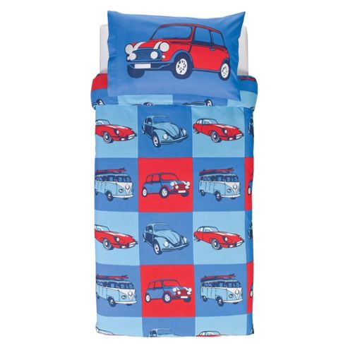 Tesco Kids Retro Cars Duvet Cover Set