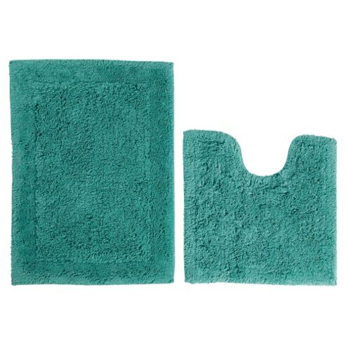Tesco Pedestal and Bath Mat Set Sea Green