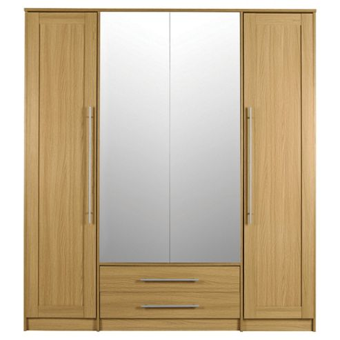 Kendal 4 Door Wardrobe with Drawers, Oak Effect
