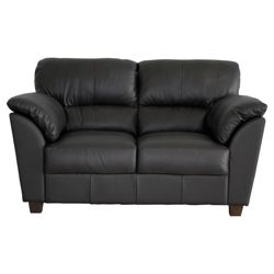Leo Small Leather Sofa, Black