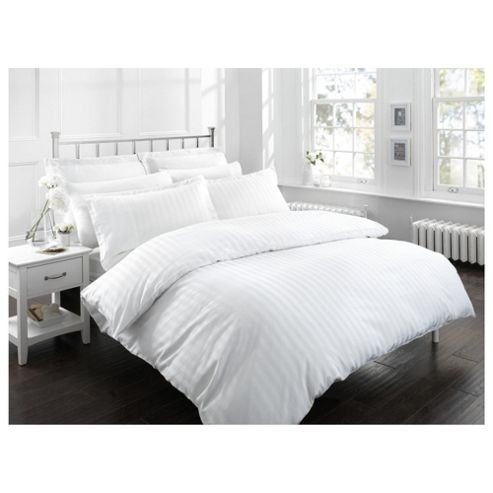 Finest Pima Cotton Satin Stripe Kingsize Size Duvet Cover Set, White