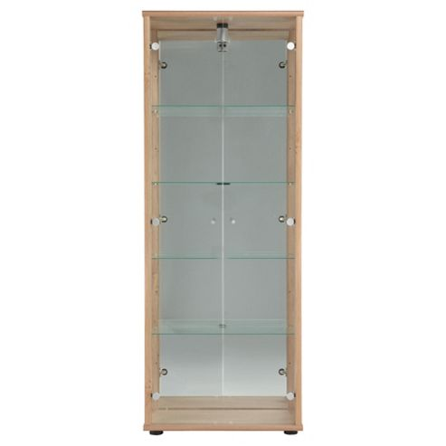 Bradley 2 Door Display Cabinet With An Internal Light, Oak-Effect