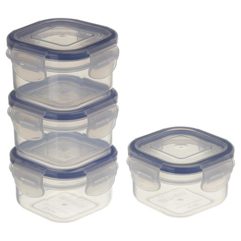 Tesco Klip Fresh 140ml Square Food Containers, Set of 4