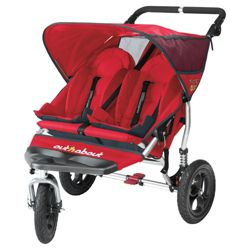 Out 'n' About V2 Nipper 360, 3 wheeler Double Pushchair, Red