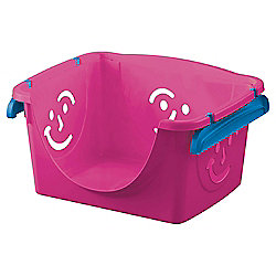Smiley Face Plastic Storage Box - Stackable - Pink