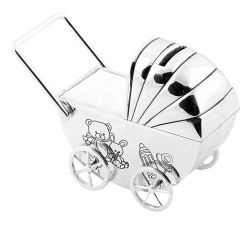 Silver-plated Pram Money Box, White
