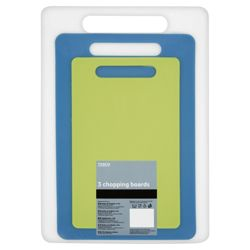 Tesco Set of 3 Plastic Chopping Boards, Blue and Green