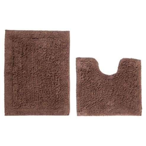 Tesco Pedestal And Bath Mat Set Dark Natural