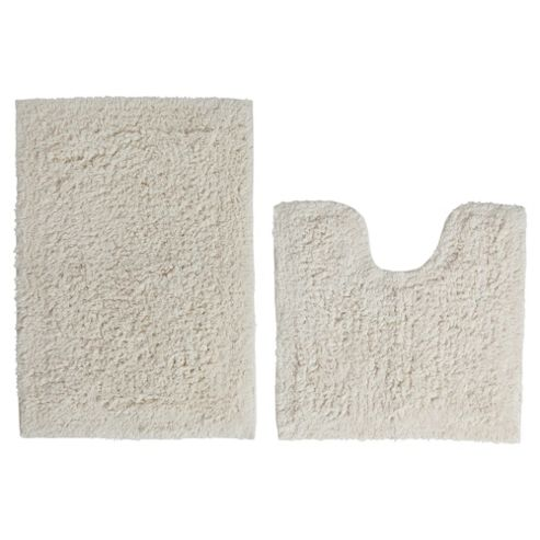 Tesco Pedestal And Bath Mat Set Cream