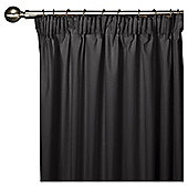 Tesco Faux Silk Lined Pencil Pleat Curtains - Black