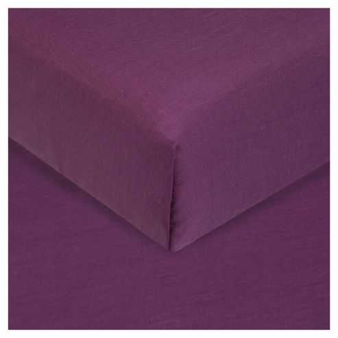 Tesco Double Flat Sheet Aubergine