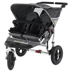 Out 'n' About V2 Nipper 360, 3 wheeler Double Pushchair, Charcoal
