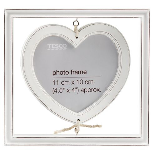 Tesco Hanging heart distressed white wash wood frame