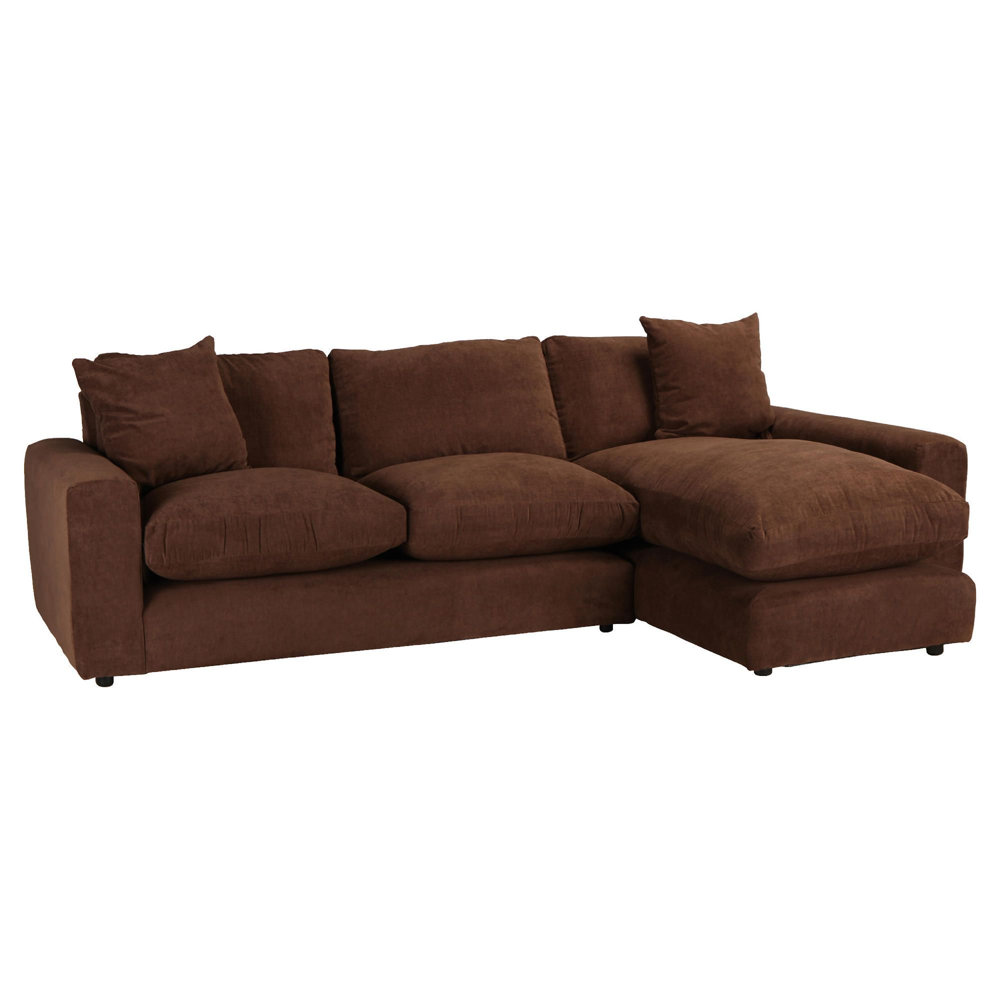 Valentino Chaise Sofa Chocolate Right Hand Facing at Tescos Direct