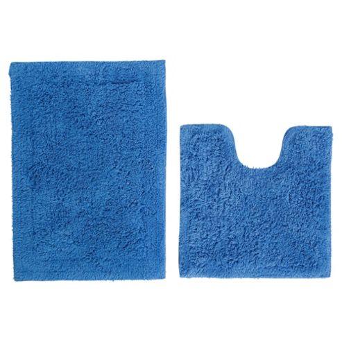 Tesco Pedestal And Bath Mat Set Royal Blue