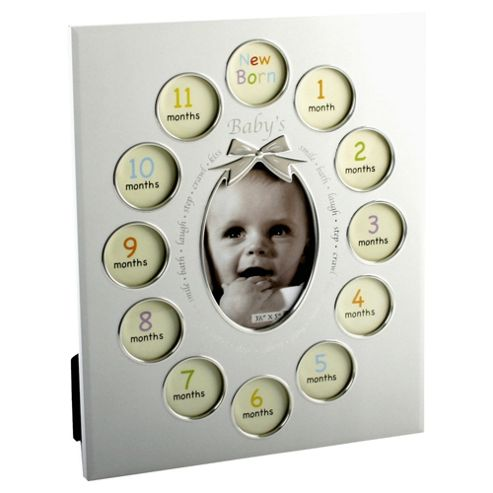 Nursery aluminium Photo frame Babys First Year 12 inserts pearlized white