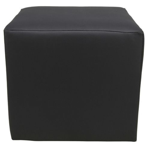 Stanza Leather Effect Cube / Foot stool, Black