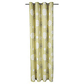 "Tesco Meadow Print lined eyelet Curtains W162xL229cm (64x90""), Soft Green"