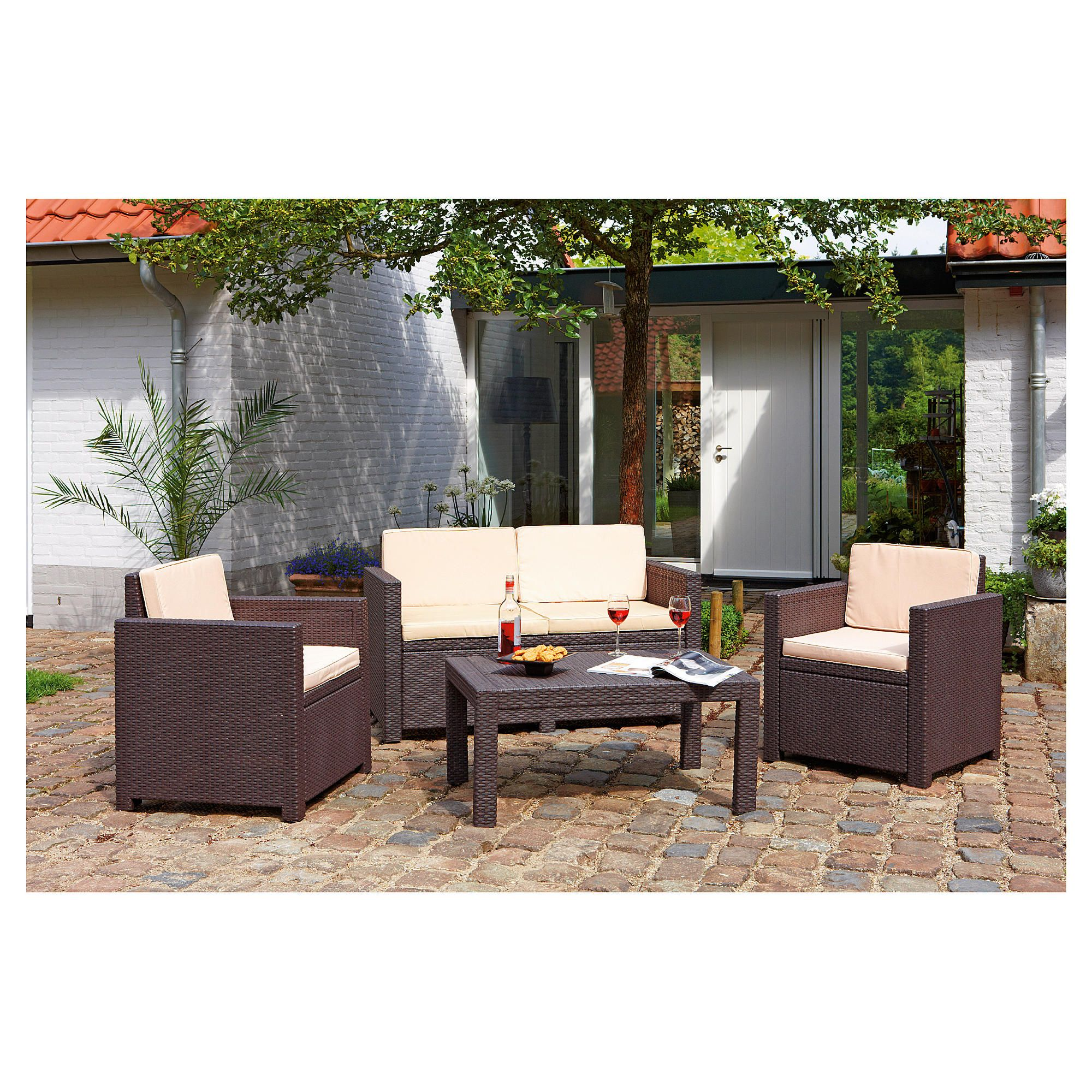 Allibert Victoria rattan effect 4 piece lounge set at Tesco Direct