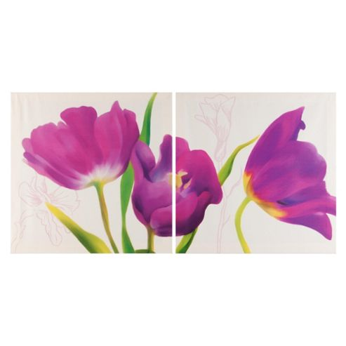 Floral Retreat Canvas, Set of Two 40x80cm