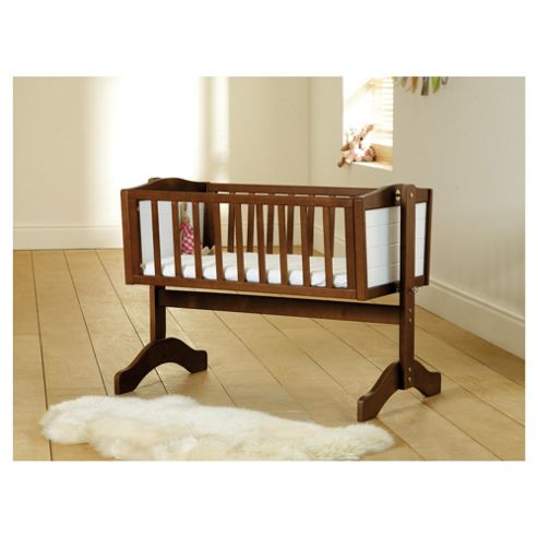 Saplings Bernice Swinging Crib, Walnut and White