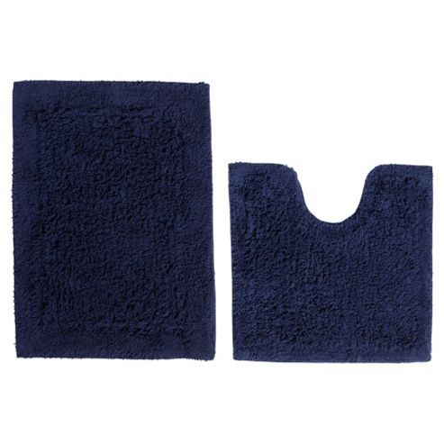 Tesco Pedestal And Bath Mat Set Navy