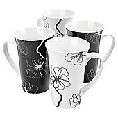 Tesco Mono Floral Set of 4 Mugs