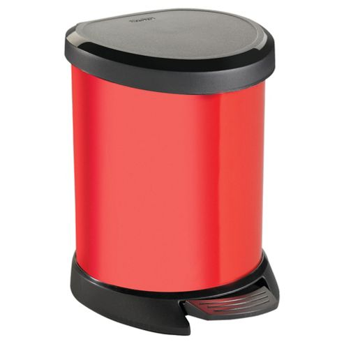 Curver Deco 5 Litre Pedal Bin, Red