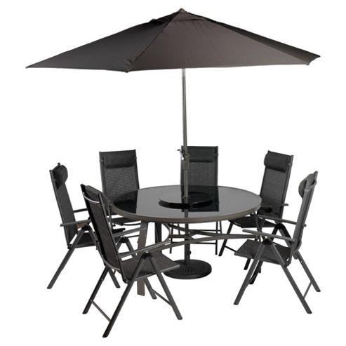 Sorrento 6 Seat Set Round Table, Lazy Susan Parasol & Base -Charcoal