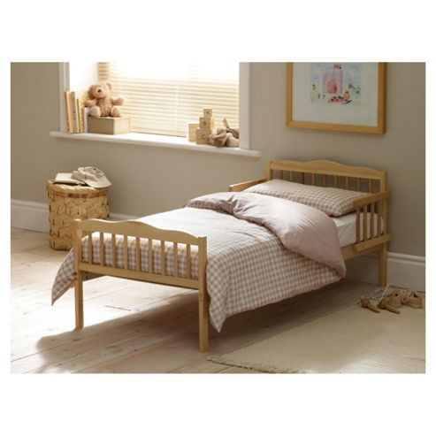 Saplings Junior Bed in a Box, Beige Gingham (Includes bed, mattress, quilt, pillow, pillow case & duvet cover)